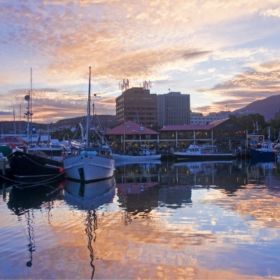 Boats moored at Hobart wharf